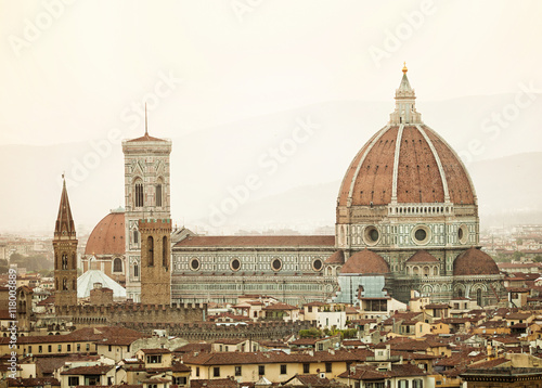 Cathedral Santa Maria del Fiore at sunset, Florence. - 118003889