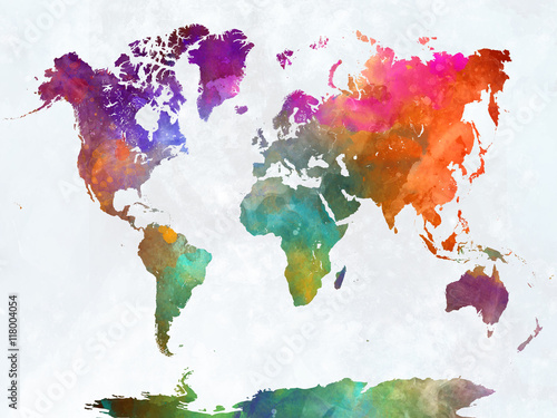 Fotografie, Obraz  World map in watercolor