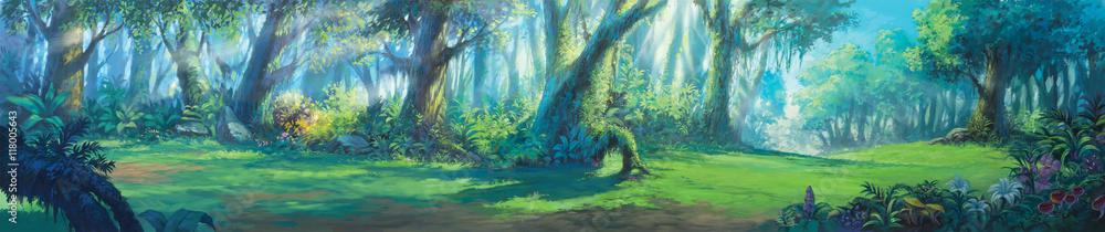 Fototapeta Sunrise morning inside fantasy forest painting illustration