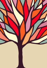 Tree Illustration With Colorful Branches