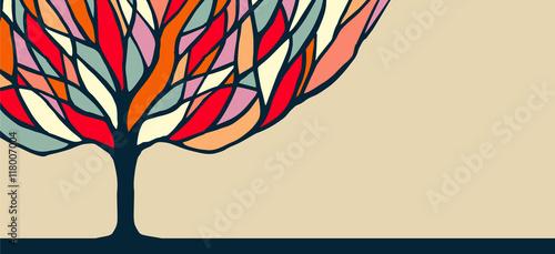 Fototapeta Colorful tree nature art illustration for banner
