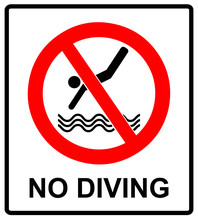 No Diving Sign. Vector Prohibi...