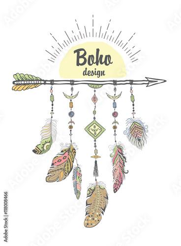 Foto auf AluDibond Boho-Stil Boho Style with Ethnic Arrows and Feathers.