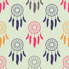 Naklejka Boho Vector colofrul seamless pattern with dream catchers. Boho design