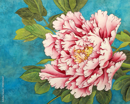 pink peony on a blue background - 118012667