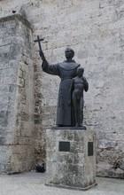 Missionary Junipero Serra Statue On The Square In Havana.