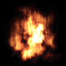 Fiery Orange Flame Firebolt With Sparks On A Black Background.
