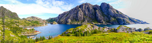 Poster Northern Europe Landscape of Lofoten Islands in Norway.