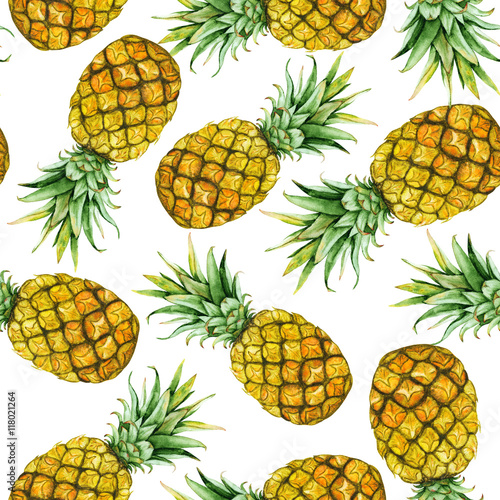 hand drawn watercolor pineapples