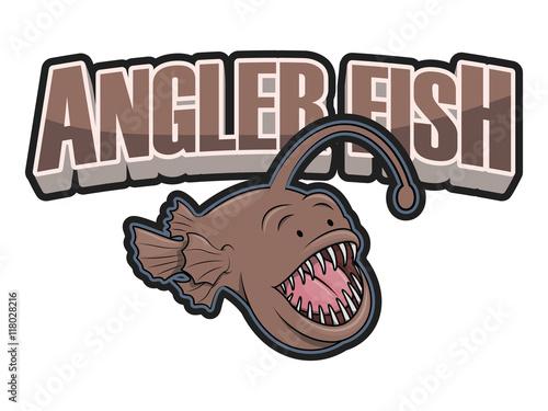 Photo angler fish illustration design colorful