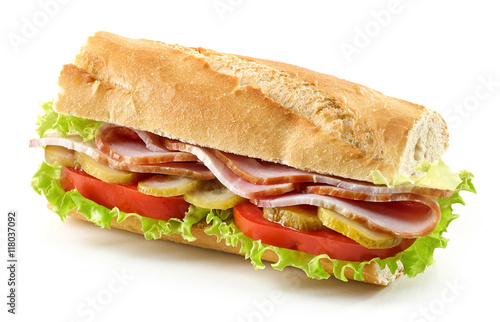 Spoed Foto op Canvas Snack sandwich with meat and vegetables
