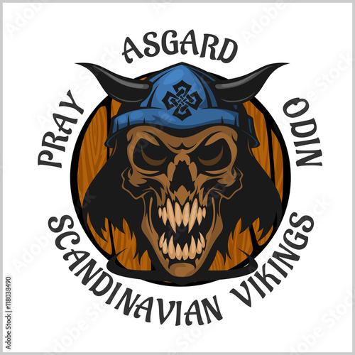 Photo  Skull wearing a viking helmet.