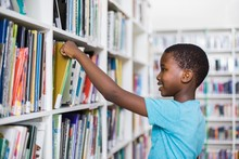 Schoolboy Selecting A Book Fro...