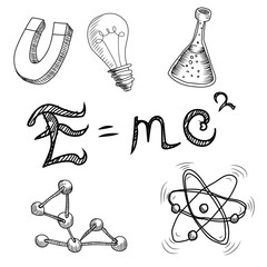 FototapetaMass-energy equivalence E=mc2. Hand drawn illustrations