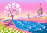 Fototapeta Pokój dzieciecy - Fantasy landscape with castle