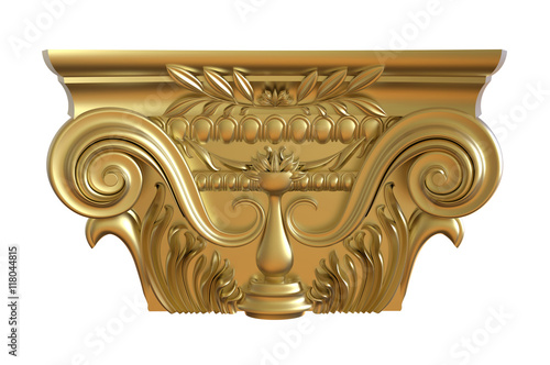 Fotografie, Obraz  Classical gold column pedestal