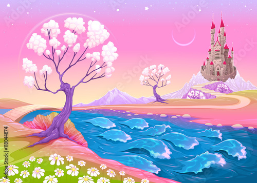 Fantasy landscape with castle