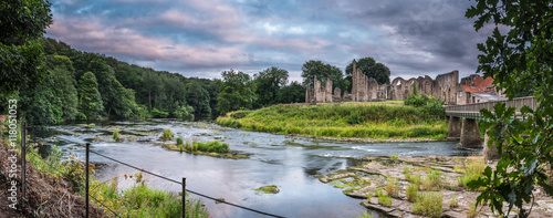 Poster Ruine Panoramic of River Wear and Finchale Priory, as it flows past the medieval ruin, in County Durham