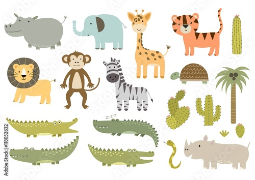 Cute isolated safari animals collection Wallpaper Mural