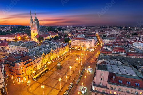 Zagreb Croatia at Night. View from above of Ban Jelacic Square