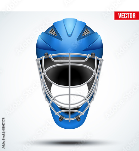 Photo Classic blue Goalkeeper Hockey field Helmet isolated on Background