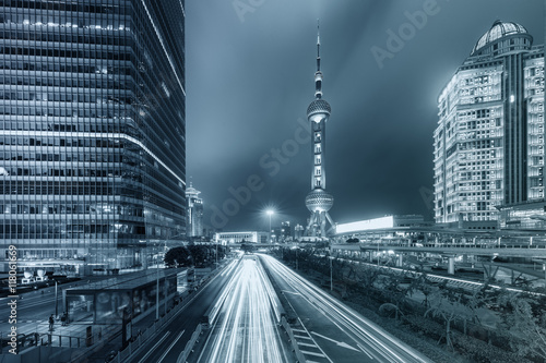 Shanghai city skyscraper and China Oriental pearl tower at night Poster