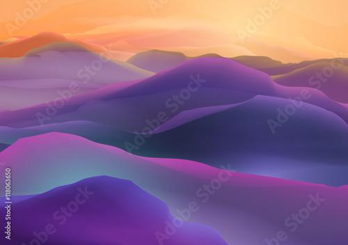 Foto op Aluminium Snoeien Sunset or Dawn Over the Mountains Landscape - Vector Illustration