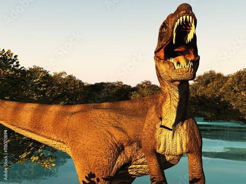 Photo  Velociraptor the dinosaur 3d rendering