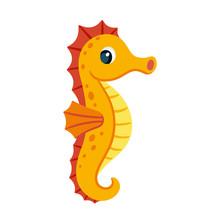 Cute Cartoon Seahorse