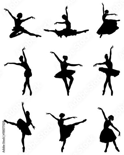 Foto Black silhouettes of ballerinas, vector
