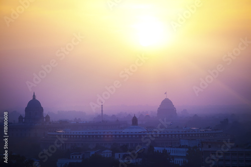 Foto op Canvas Delhi India. A silhouette of temples and buildings of Delhi in a sunset haze