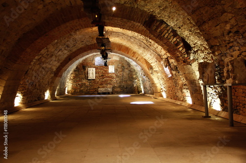 old dark arched underground tunnel