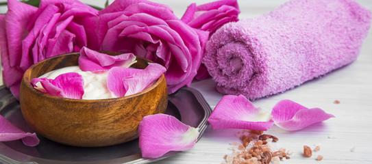 Spa rose lotion still life