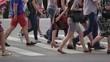 Pedestrians Crossing Street Crowded Crosswalk City Life