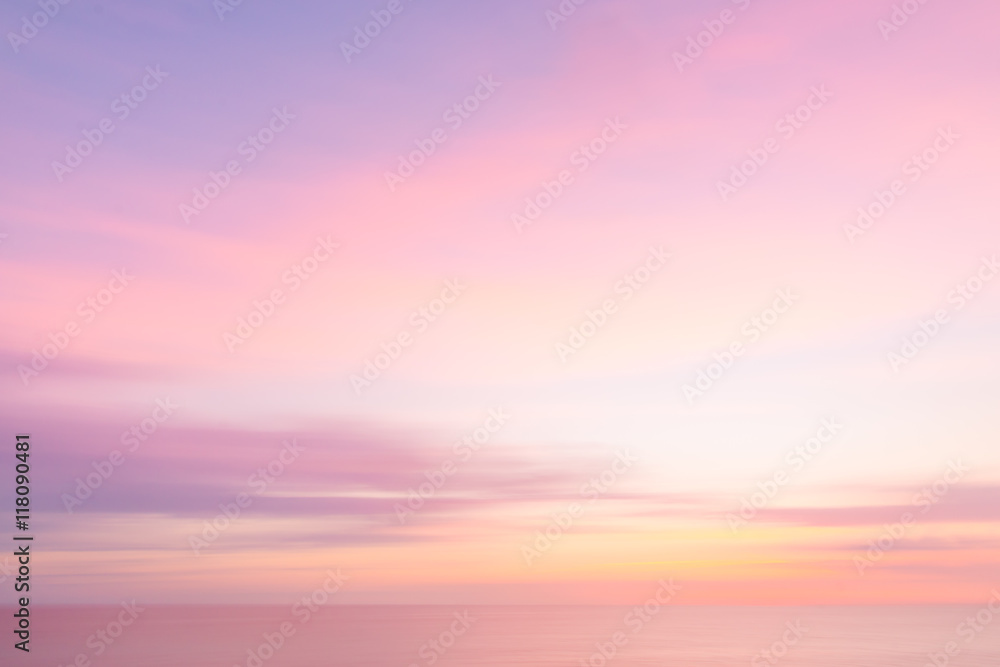 Fototapeta Blurred  sunset sky and ocean nature background