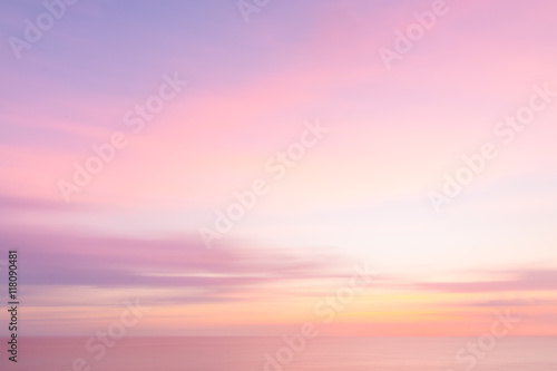 Poster Zonsondergang Blurred sunset sky and ocean nature background