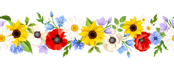 FototapetaVector horizontal seamless background with colorful wild flowers on a white background.