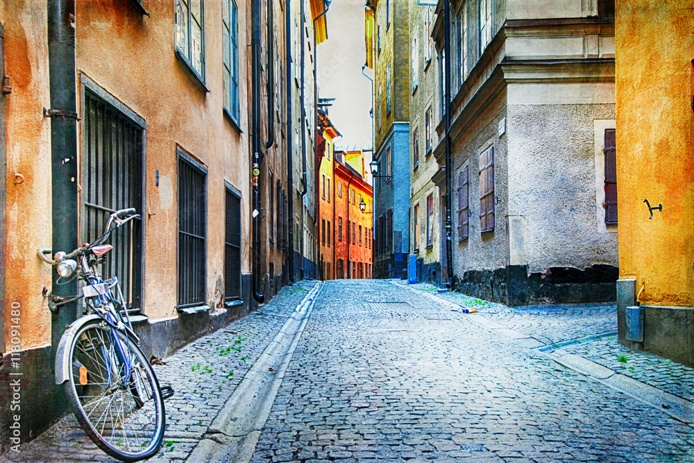 Authentic narrow streets of old town of Stockholm, Sweeden