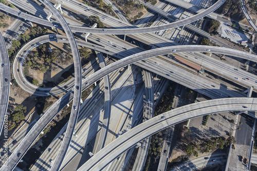Fotografie, Obraz  Los Angeles 110 and 105 Freeway Interchange Ramps Aerial