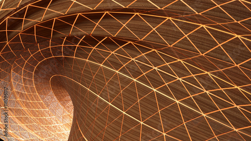Fotobehang - Abstract curve of tunnel