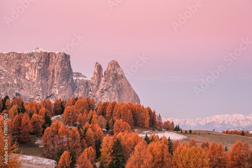 Garden Poster Light pink Autumn Landscape with Mountains