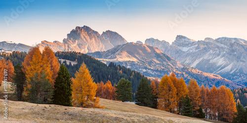 Canvas Prints Blue Autumn Landscape with Mountains