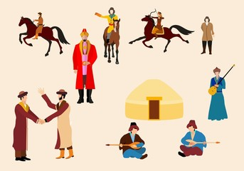 Kazakh people in natrional ethnic dress, vector icons set