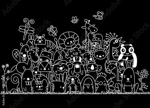Staande foto Abstractie Art Hand Drawn Vector Illustration of Doodle funny animal, illustrat