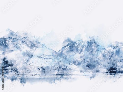 abstrakcjonistyczny-gora-krajobraz-na-bielu