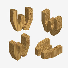 Set Of Four Wooden Block,Three-dimensional Wooden Alphabet. Vector Illustration Of 3d, Letters W