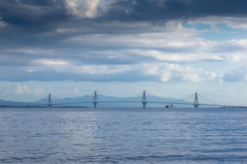 FototapetaPanorama of The cable bridge between Rio and Antirrio from Nafpaktos, Patra, Western Greece