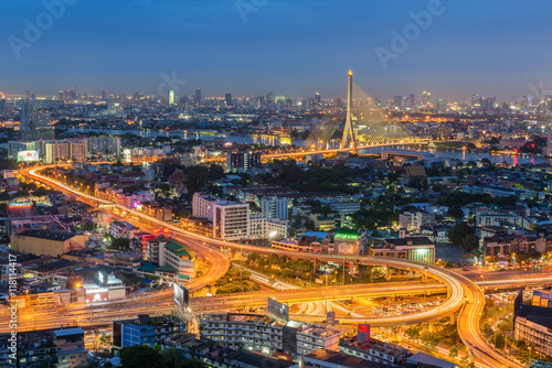 Fototapeta Elevated highway and overpass road with bridge in Bangkok, Thailand obraz na płótnie