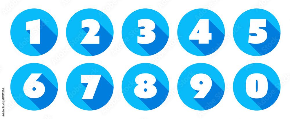 Fototapeta Numbers / blue circle Icons