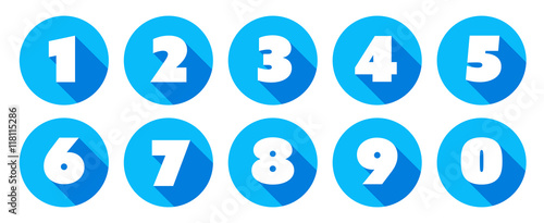 Fototapeta Numbers / blue circle Icons obraz